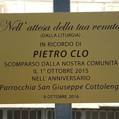 Targhetta per Pietro Clo