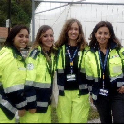 le colleghe Scalini, Vella e Filipetta con la Presidente di PxP ER al Campo Scuola
