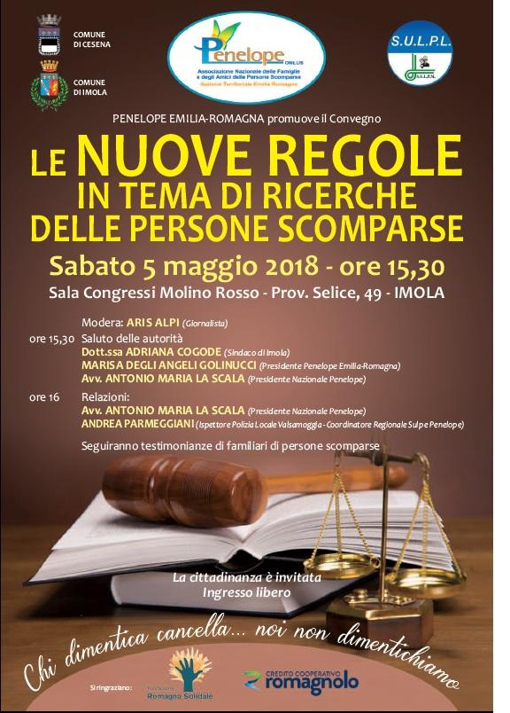 """SAVE THE DATE!!! Convegno """"Le nuove regole in tema di ricerche delle persone scomparse"""""""