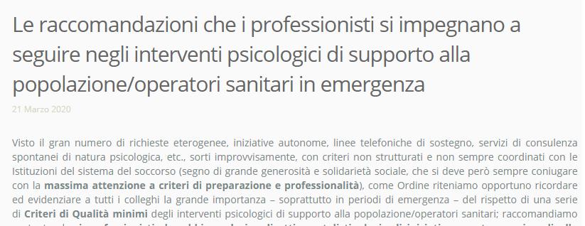 Comunicato dell'Ordine psicologi Veneto rivolto ai professionisti