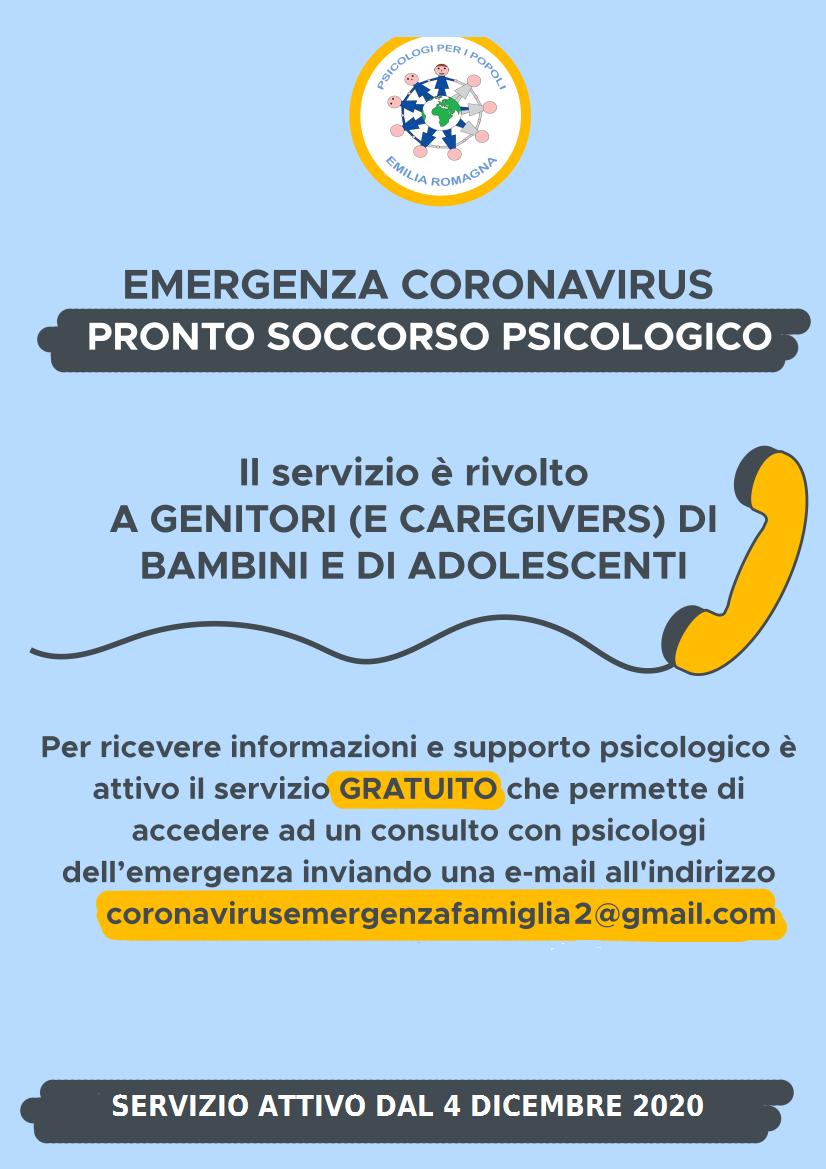 Pronto soccorso psicologico: riattivato il servizio rivolto a genitori e caregivers